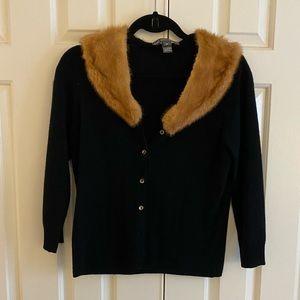 Black cardigan with mink collar